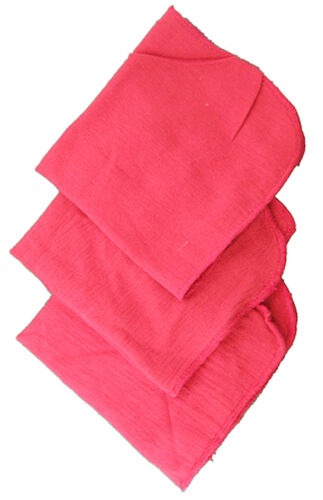 4 RED pink SHOP TOWELS 100% Cotton cloth Rags auto car mechanics cleaning oil