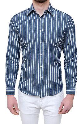 Camicia uomo sartoriale blu a righe slim fit casual elegante primavera estate