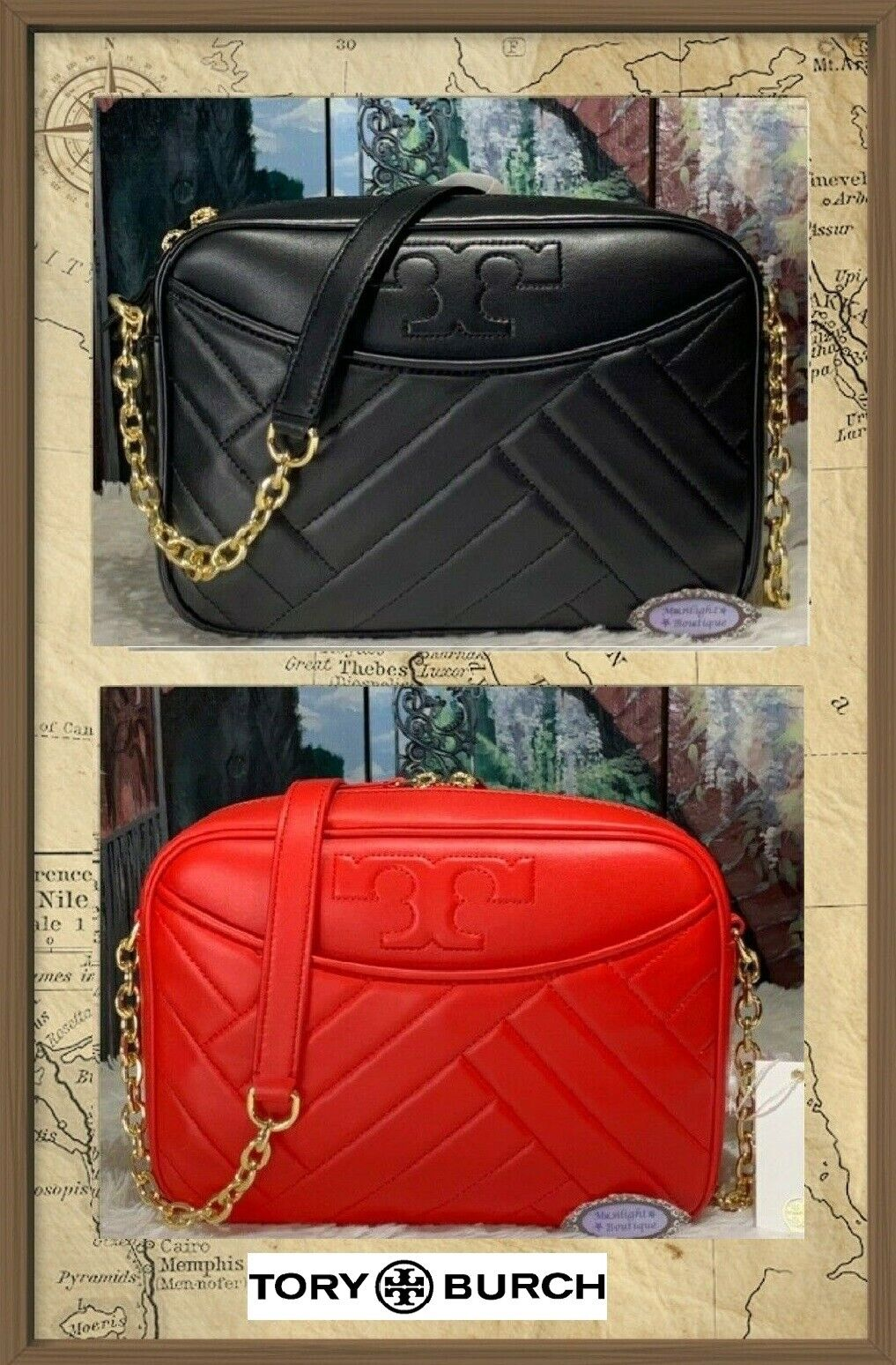 NWT TORY BURCH ALEXA STITCH CAMERA X-body Bag In BLACK or RE