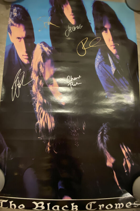 The Black Crowes Signed Poster 1992 By 5 Members