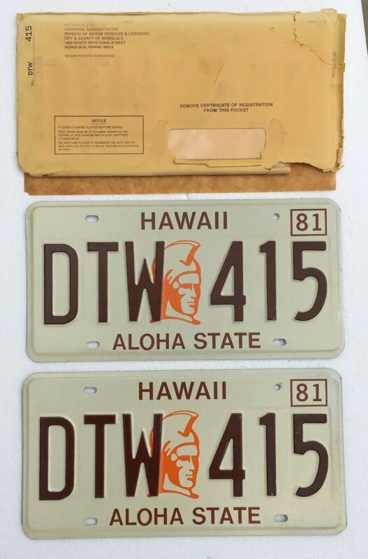 1981 Hawaii License Plates Pair, NOS In /envelope, Mint Cond.