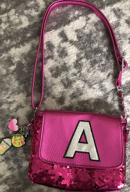 """Justice Hot Pink Sequin Initial """" A """" Girls Purse Bag NEW"""