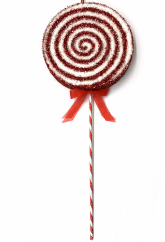 Large Big Red White Peppermint Lollipop Christmas Ornament Photo Prop Pick R3