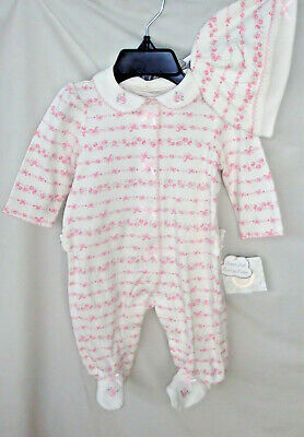 LITTLE ME 100% Cotton White Floral Rose Print Footie w/Hat Girl SIZE 3 MO NWT