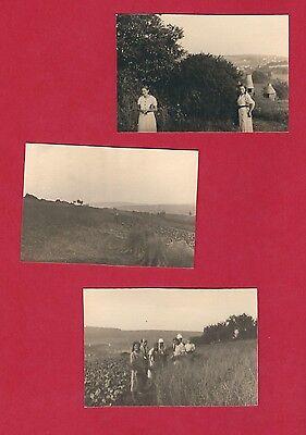 10/652 FOTO 3 x ERNTEHILFE IN NIEDERLINXWEILER um 1934 SELTSAME BAUWERKE