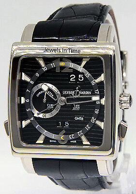 Ulysse Nardin GMT Quadrato Dual Time 18k White Gold Watch Box/Papers 320-90