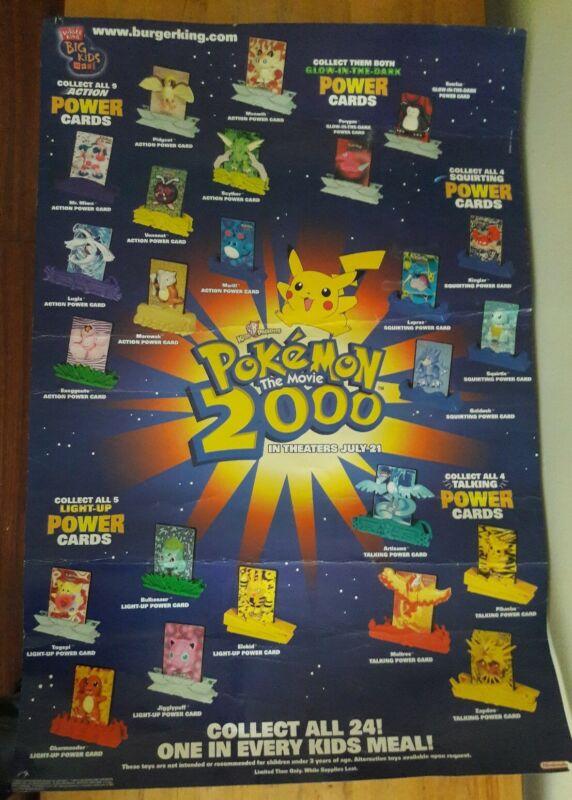 "Burger King Pokemon 2000 Promo Poster Advertisement Sign 39"" x 26"""