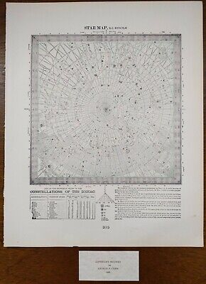 Vintage 1900 STAR MAP #5 NORTH POLAR ~ Old Antique Original CONSTELLATIONS