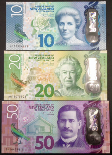 Banknote - Lot of 3 New Zealand Polymer Banknotes $10, 20, 50 Dollar, UNC