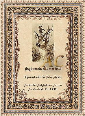 Individuell Ehrenurkunde Geschenk Urkunde Jäger Jagd Waidmann Zunftwappen 30x21a