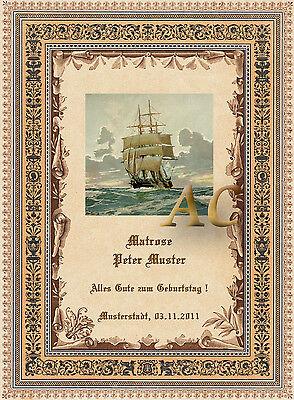 Individuell Ehrenurkunde Seemann Matrose Seefahrt Zunft Geschenk Urkunde 30x21