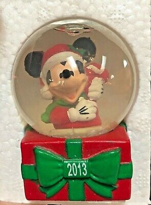 Disney 2013 Snow Globe Mickey Mouse Christmas Collectible In Box