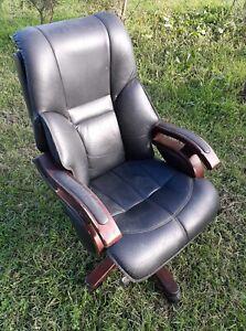 Directors Chair Rocking Recliner Swivel Adjustable Black Vinyl Office