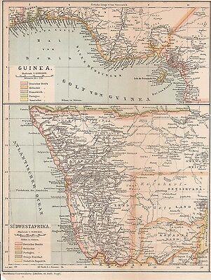 Deutsch-Südwestafrika DSWA Guinea Kamerun KARTE von 1887 Deutsche Kolonien