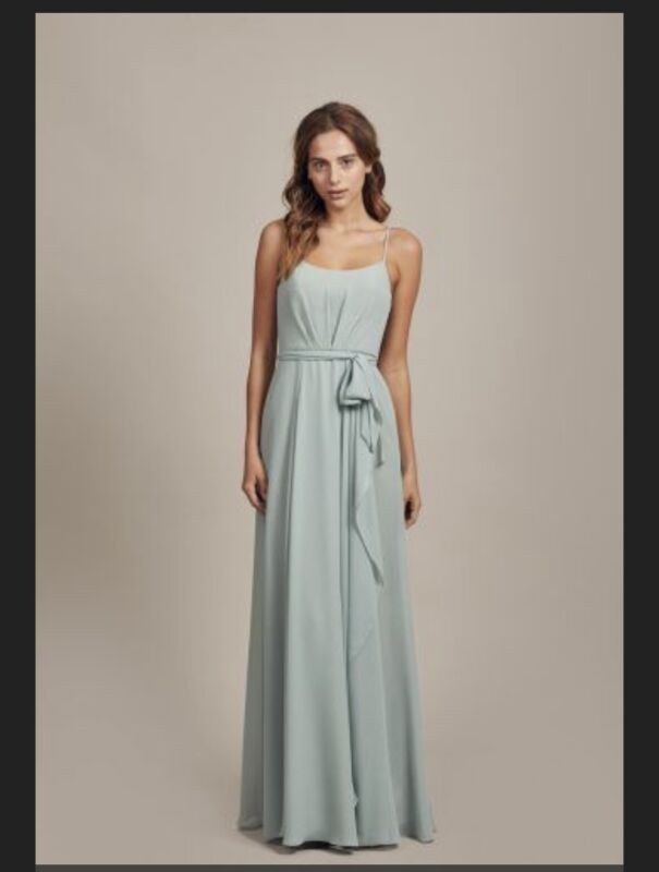 Amsale Campbell Chiffon Sage Dress Size 4