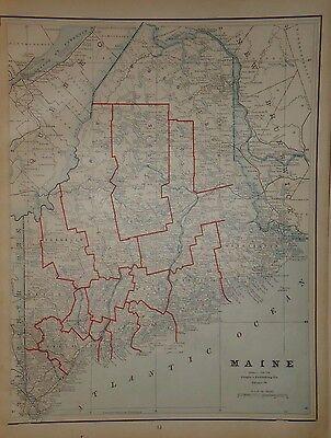 VINTAGE 1891 MAINE MAP ~ OLD ANTIQUE ATLAS MAP FREE S&H 1891/032717