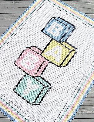 Crochet Patterns-baby Blocks Color Graph Afghan Pattern