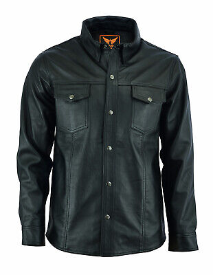 - Mens Classic Snap Top Grain Premium Sheep Leather Shirt Black Fully Lined Shirt