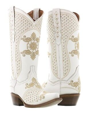 Womens White Wedding Leather Western Cowgirl Boots Studded Embroidered Snip Toe - Wedding Cowgirl Boots