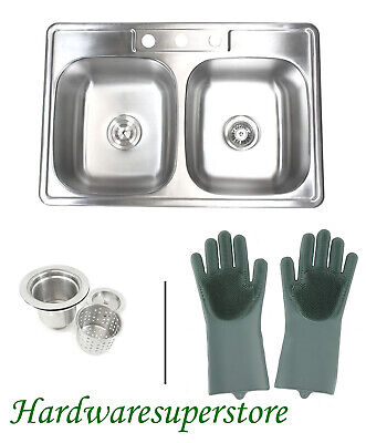 "33"" x 22"" x 9"" Stainless Steel Double 50/50 Bowl Topmount Drop In Kitchen Sinks"