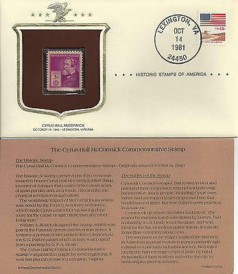 Historic Stamps of America CYRUS HALL McCORMICK Commemorative Stamp