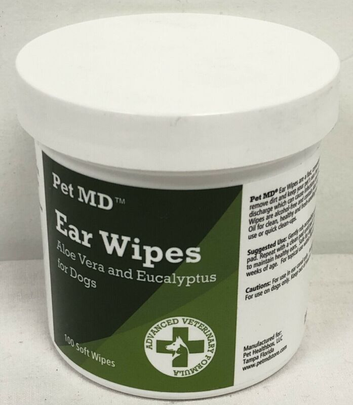 100 Pet MD Soft Ear Cloths Aloe Vera and Eucalyptus for Dogs New Over 12 Weeks