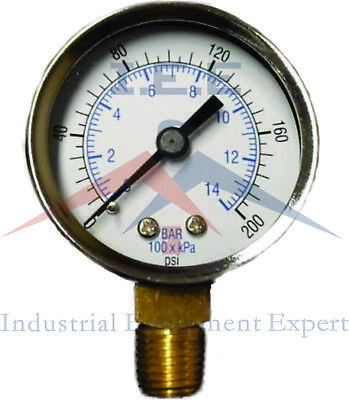 Air Compressor Pressure Hydraulic Gauge 1.5 Face Side Mount 18 Npt 0-200 Psi