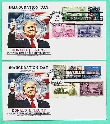 DONALD TRUMP 2017 INAUGURATION , SPECIAL COMBO COVER SET OF 2  GRAEBNER CACHET
