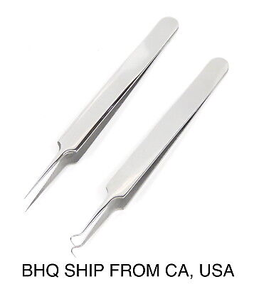 - Professional Pointed Ingrown Hair Splinter Tip and Curve Tweezers Set