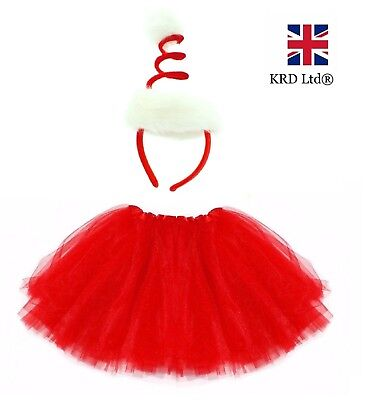 SPIRAL SANTA HAT TUTU COSTUME Kids Ladies Teen Christmas Party Fancy Dress UK