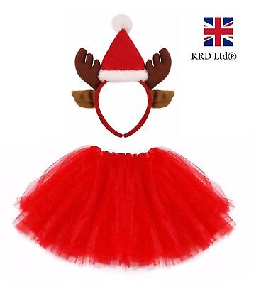 REINDEER TUTU COSTUME Kids Teens Ladies Girls Christmas Party Fancy Dress NEW UK