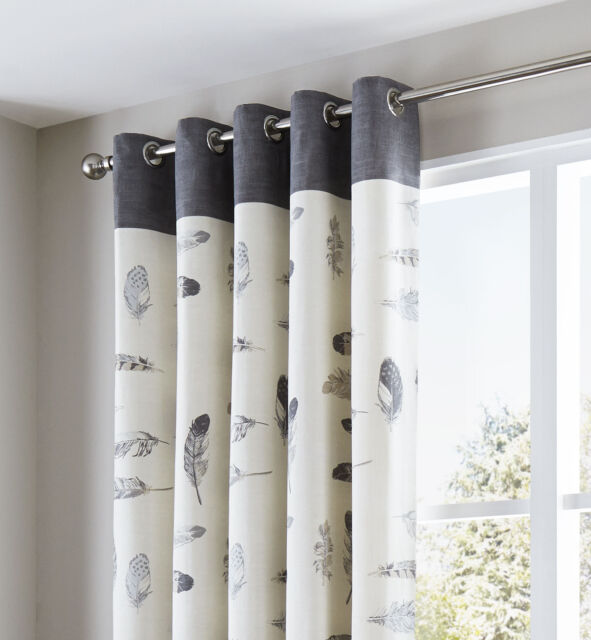 Fusion Idaho Eyelet Lined Curtains Set of 2 in Charcoal 168 X 229 ...