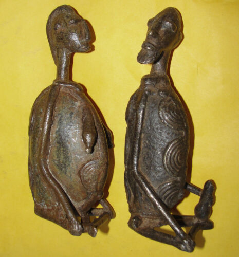 Old Ancestor African Cast Bronze Tribal Dogon Baule Statue Sculpture Lost Wax