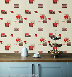 Red teapots cups on a cream background washable kitchen for Thick kitchen wallpaper