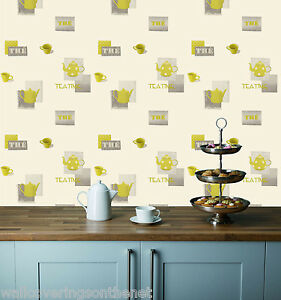 mesmerizing lime green kitchen walls | Grey & Green Teapots & Cups on a Cream Background ...