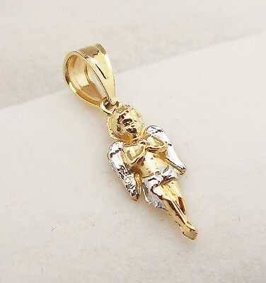 10K Yellow Gold Two Tone Tiny Praying Angel Charm