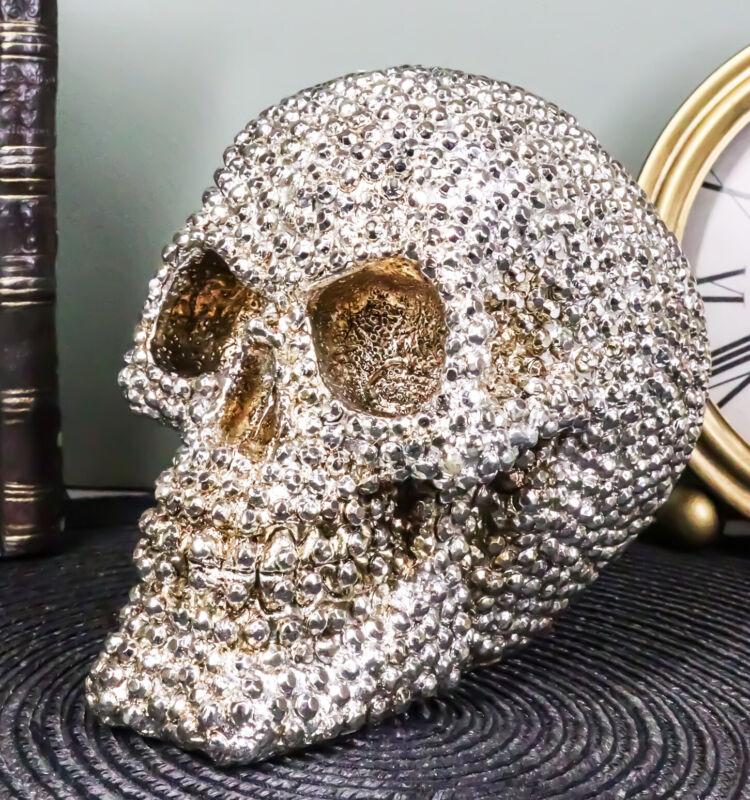 "Ebros Gift Realistic Chrome Silver Bead Stone Bling Skull Figurine 6.25"" L"