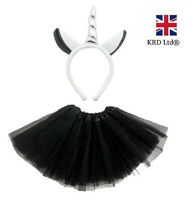 GREY UNICORN TUTU COSTUME Kids Teens Halloween Dash Pony Fancy Skirt Dress UK ()