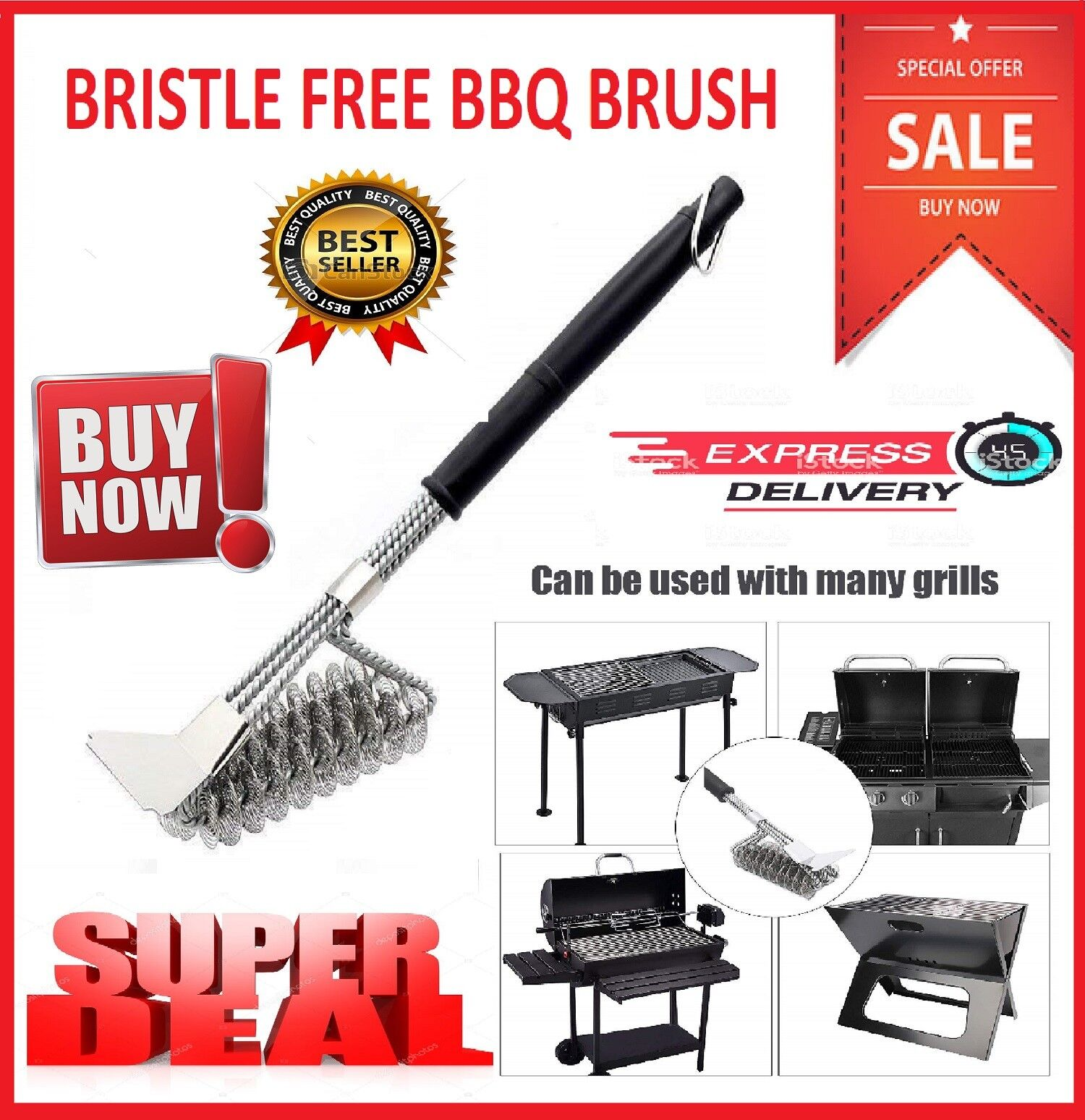 """18 """" BBQ Grill Brush Free Bristle Barbecue Stainless Steel C"""