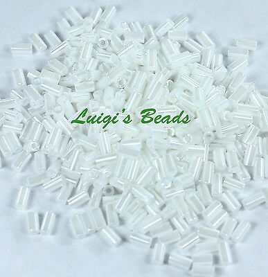 Opaque-Lustered White #121-TOHO Japanese Glass Seed Bead Beads Bugle # 1 -3mm