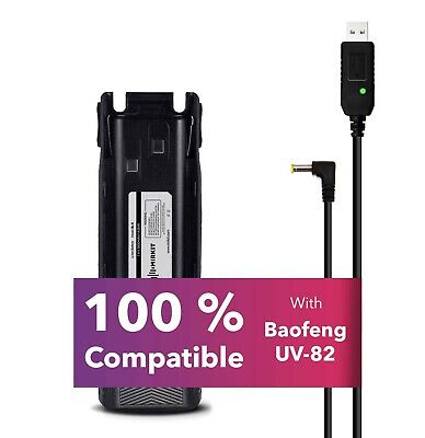 Baofeng Battery BL-8 3800 mAh with Charger USB Cable for UV-82, UV-82HP models