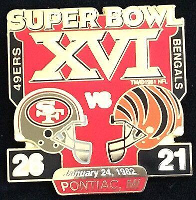 Super Bowl 16 San Francisco 49Ers Vs  Cincinnati Bengals Final Score Pin W   W