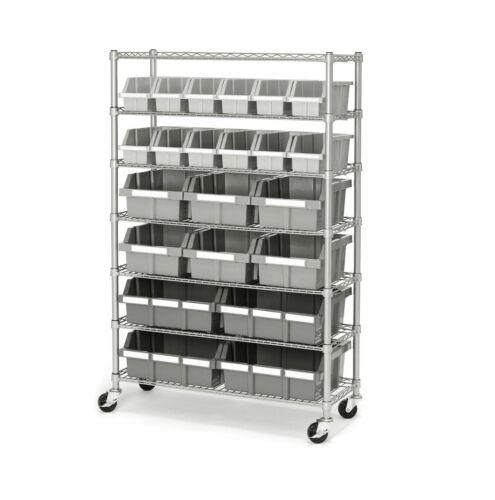 Seville Classics 22-Bin Rack Rolling Wheels Garage Warehouse Storage Shelves