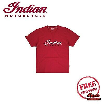 GENUINE INDIAN MOTORCYCLE BRAND COTTON T-SHIRT TEE 3D LOGO RED NEW SCOUT FTR1200