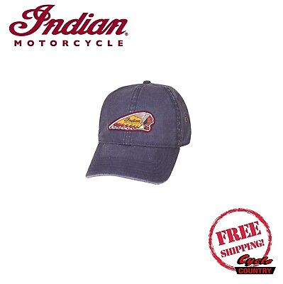 GENUINE INDIAN MOTORCYCLE HEADDRESS LOGO HAT W/ BUCKLE BLUE NEW SCOUT CHIEF