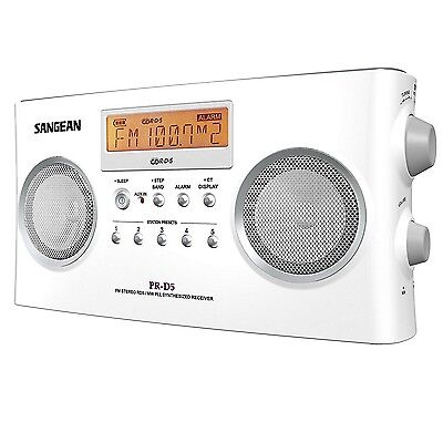 Sangean Pr D5 Portable Radio With Digital Tuning And Rds 10 Memory Preset  White