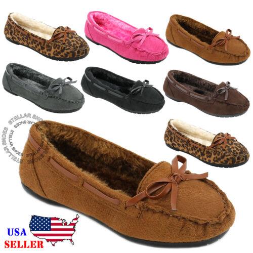 NEW Girls Kids Moccasins Slip On Indoor Outdoor Slippers Fur Loafer Shoes