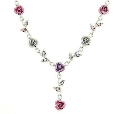 Rose Multi Color Flower Made With Swarovski Crystal Floral Bridal Necklace NEW