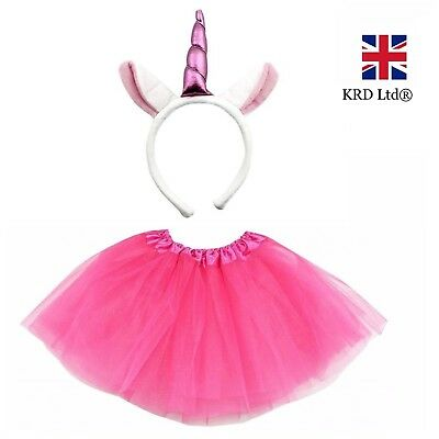 PINK UNICORN TUTU COSTUME Kids Teens Halloween Dash Pony Fancy Skirt Dress UK ()
