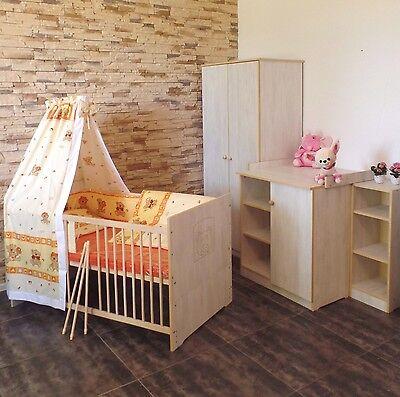 Babyzimmer Komplett Set Babybett 5Farben Umbaubar 2in1Schrank Kommode weiß rosa